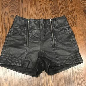 Guess genuine leather high waisted shorts